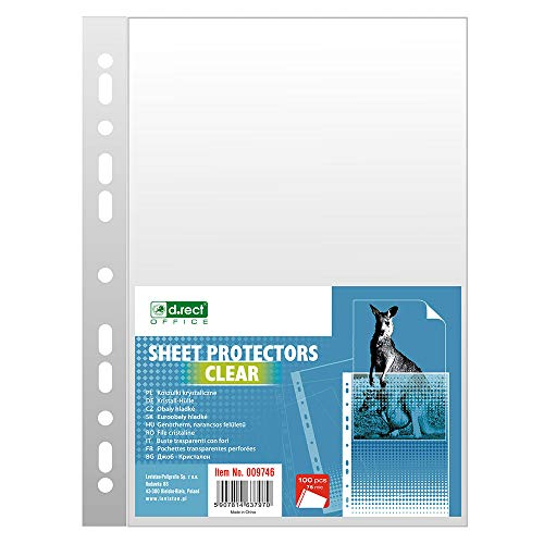 D.RECT Prospekthüllen Dokumentenhüllen 75 µm/Mic/Mikron Stärke: 0,075 mm A4 100 Stück Folienverpackung Transparent glasklar