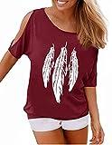 GNRSPTY Mujer Casual Camiseta Manga Corta Sin Tirantes Verano Estampado de Plumas Suelto T-Shirt Tops,Rojo 1,XL