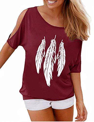 Preisvergleich Produktbild YIPINEU Damen Sommer T-Shirt Kurzarm Feder Schulterfrei Bluse Casual Tops Lose T-Shirt, Rot 1, M