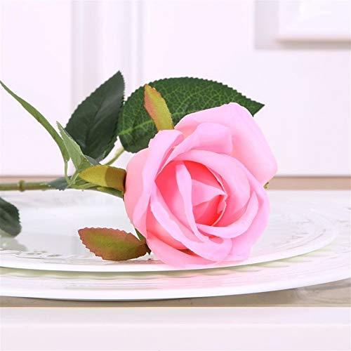 W-L Künstliche Pflanzen 5pc Qualitäts-Champagne Avalanche Rosen-Blatt Künstliche Blumen-Fälschungs-Silk Blumen-Heim Tabelle Party Hochzeit Dekor-Geschenk (Color : Pink)