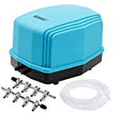 AQUANEAT Aquarium Air Pump up to 300Gal w/Gang Valves & Tubing Oxygen Aerator Ultra Quiet Fish Tank Air Pump Two Outlets