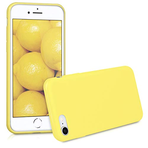 kwmobile Funda Compatible con Apple iPhone 7/8 / SE (2020) - Carcasa de TPU Silicona - Protector Trasero en Amarillo Mate