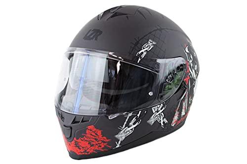 Marushin Motorrad Helm Lazer - FullFace FH3 Pitbull - Schwarz, Rot, Weiß, Matt, Größe: XS bis XXL, Helmgröße:XL