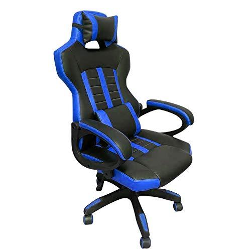 V-LAB Silla de gaming y oficina, silla ergonómica con ruedas, soporte lumbar y cervical (negro-azul)