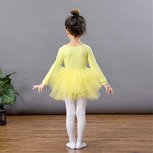 Vestido de Danza Ballet Manga Larga para Niña Maillot de Gimnasia Rítmica con Falda Tul Leotardo Elástico de Baile Disfraz de Bailarina Traje de Ballet, 8-9 Años