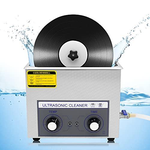 CGOLDENWALL 超音波洗浄機 レコード 6L レコードクリーナー LP/SP盤に適用 自動回転 両面同時清浄 最大4枚設置可 180W 0-30minタイマー 20-80℃調節可 乾燥用LP立て 日本語説明書付き