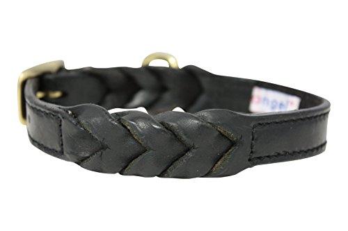 Angel Pet Supplies Inc. Hundehalsband, Leder geflochten, 45,7cm X 3/10,2cm schwarz, geölten Leder. Französische Bulldogge, Cocker Spaniel, ähnliche Rassen (Hals Größe: 31,8cm–40,6cm)