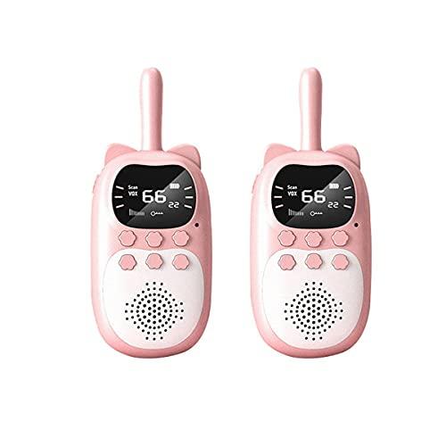 HIZQ Walkie Talkie Niños con Linterna LCD Retroiluminada Alcance De 3 Millas para Aventuras Externas Camping Senderismo Regalos Cumpleaños para Infantiles,Pink*2