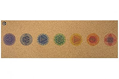 "Yoloha Cork Yoga Mat Nomad Cork Travel Yoga Mat, Non Slip, Sustainable, Soft, Durable, Foam, Premium, Handmade, Moisture Resistant - 72"" x 26"", 4.5 mm Thick (Chakras)"