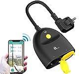 1byone Wlan Prise de Courant d'extérieur, étanche WI-FI avec 2 Sorties, Contrôle à Distance, Prise Smart Home Plug Compatible avec Alexa, Google Home et IFTTT