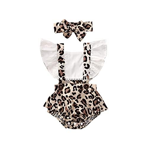 TSQFE Ropa de verano para recién nacida y niña, diseño de leopardo, 2 piezas, color blanco, tamaño: 18-24 meses)