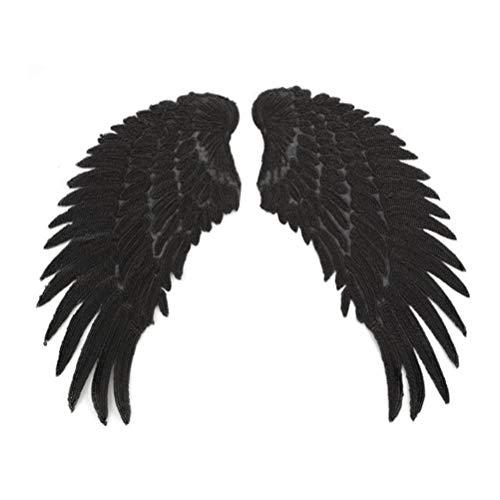 Supvox - Parches termoadhesivos, diseo de alas de ngel con lentejuelas, bordados, parches decorativos, color negro
