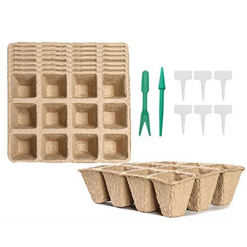 LWAN3 - Vassoi biodegradabili per sementi e torba da 8 pezzi, 96 celle, vasetti per germinazione organici con 6 etichette per piante in plastica per iniziare piantine e trapiantare facilmente