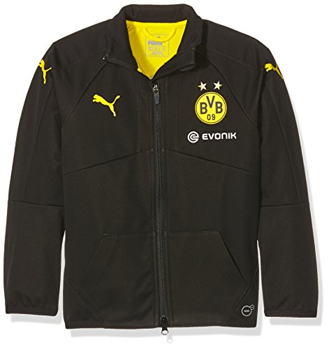 PUMA Kinder Jacke BVB Softshell Jacket with Sponsor, black-Cyber yellow, 176