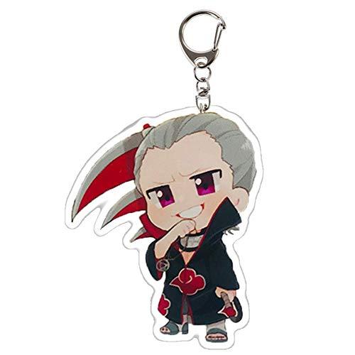 Iwinna 1 Pc Naruto Keychain Sasuke/Itachi/Kakashi Double Sided Acrylic Key Chain Pendant Anime Accessories Cartoon Key Ring(Multicolor-style1)