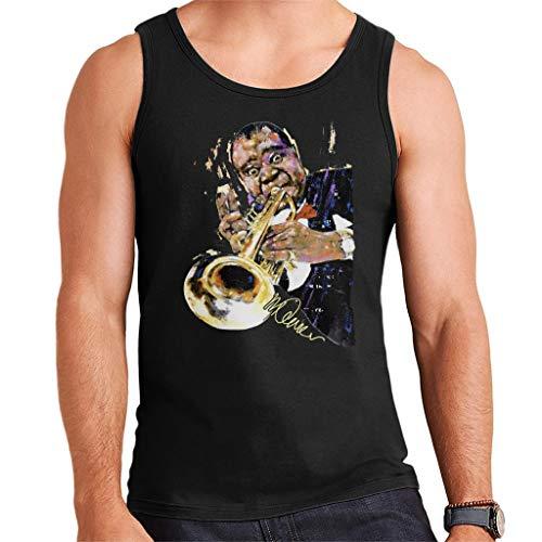VINTRO Louis Armstrong mit Trompete Herren Weste Original Portrait von Sidney Maurer Professionell Bedruckt Gr. M, Schwarz