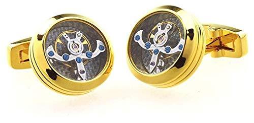 Xx101 Gemelos para Hombre Día De San Valentín Día De San Valentín Regalo De Boda Reloj De Latón Movimiento Negocio Boda Gemelos Nixx0 (Color : Gold)