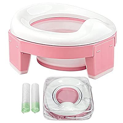 Portable Potty for Toddler Kids Travel Seat Foldable Car Potty Training Toilet with Travel and Storage Bag (Pink) by TYRY.HU