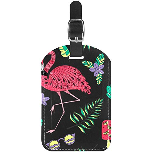 Etiquetas de Equipaje Flamingo Cactus Applapine Cuero Maleta de Viaje Etiquetas 1 Paquete