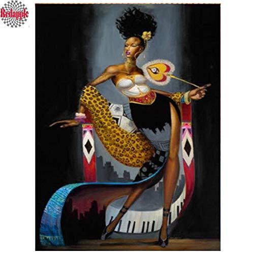 FHGFB 5D DIY Diamante Pintura número Kit Abstracto Africano niña Bordado Punto de Cruz artesanía Arte Lienzo decoración de la Pared Regalo Diamante Redondo sin Marco -40x50 cm
