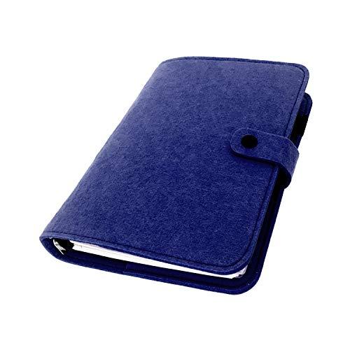 手帳 バインダー紐 システム カバー6穴 フェルト マテリアルシステムハンドブックビジネス学生6リングA5 A6ペンカード入れ, Navy Blue 24, A5 mini set