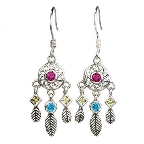 Pendientes para mujer, diseño de atrapasueños, de plata 925/1000.
