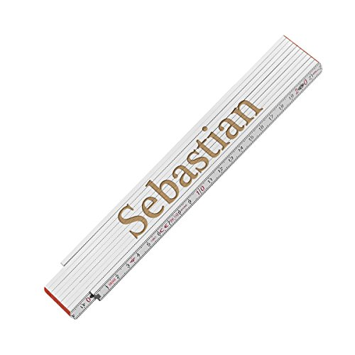 polar-effekt Zollstock Maßstab 2 Meter mit Gravur - personalisierter Meterstab mit Name - Gliedermaßstab für Heimwerker & Handwerker, Geburtstags Geschenk für Männer