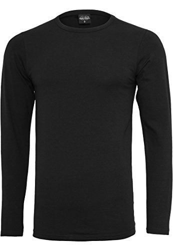 Urban Classics Fitted Stretch L/S Tee T-Shirt Manches Longues, Noir (00007), S Homme