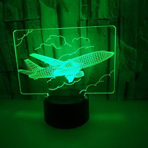 MGWA Lámpara LED de gradiente de color cielo con control remoto táctil avión 3D estéreo USB noche luz escritorio imaginativamente decorado regalo de cumpleaños Navidad 20 * 13 cm lámpara de mesa