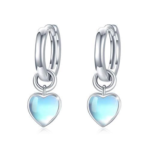 Pendientes de aro de plata de ley 925 con forma de corazón y piedra lunar arcoíris para mujer, bonitos pendientes de aro para niñas, regalo de San Valentín, cumpleaños