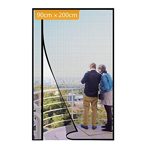 Yotache 90x200cm Moustiquaire Rideau à Fermeture Aimantée Réversible à Ouverture Latérale Gauche et Droit en Fibre de Verre Maille Anti-insectes Noir