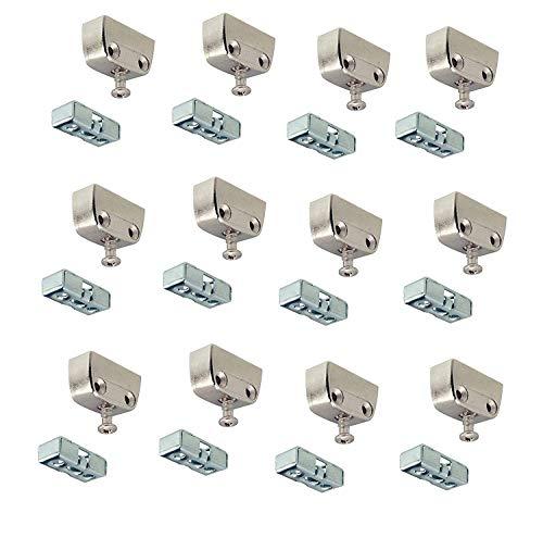 Gedotec Verbindungsbeschlag Trapez-Verbinder Metall Korpusverbinder Holz - RV Stahl | Eckverbinder mit Rastfunktion | Schrank-Verbinder für Möbel & Kästen | 12 Set - Möbelverbinder zum Schrauben