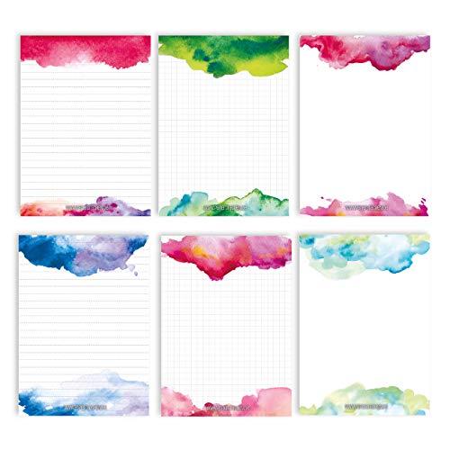 6 Notizblöcke Blanko zur freien Gestaltung | für Termine, Projekte, to do Liste, Meetings, Einkaufslisten, Notizen und vieles mehr - Aquarell - Notizblock Set 17 - DIN A6