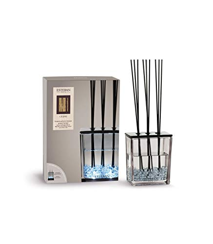 Esteban Bouquet Parfumé Cedre Grand Format Triptyque avec Recharge 500 ML Vase Verre + Recharge + Petites Baguettes Rotin Nouveauté