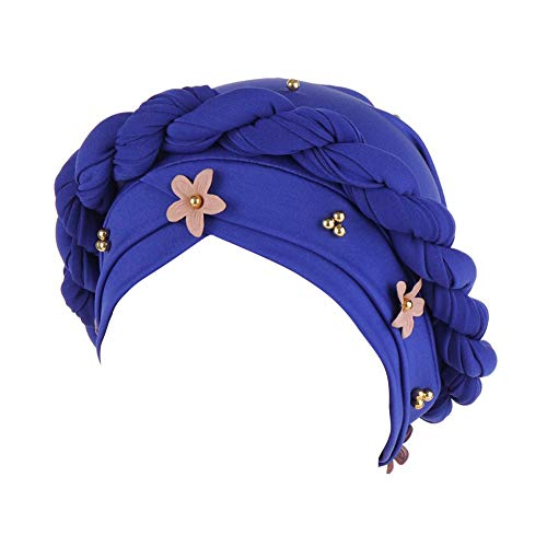 TININNA Musulmanes Gorras Elegante Stretch Flower Color sólido Turbante Chemo Cap Sombrero Sombreros para Pacientes con Cáncer Pérdida de Cabello