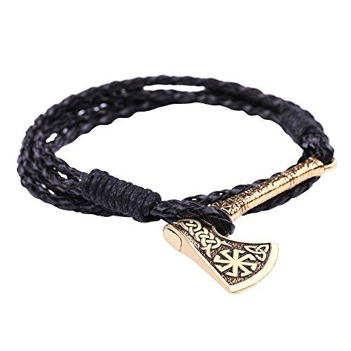 Skyrim Verstellbares Axt-Logo mit Sonnenausrüstung, keltischer Kont und Wikinger-Knotenmuster, heidnisches Armband Schmuck