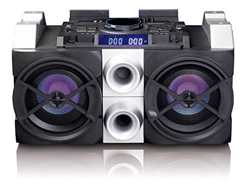Lenco PA-Anlage PMX-150 mit Akku, DJ-Mixer, Licht-Effekten, Bluetooth, USB, UKW-Radio und Gitarren-Anschluss schwarz