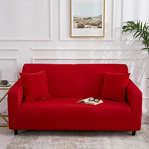 YQTYGB Fundas de Sofá elásticas 2 Plazas para Sala de Estar Fundas de sofá,Suave Lavable Antideslizante Protector Cubierta de Muebles,con Dos Fundas de Almohada,Regalo para mamá.Rojo