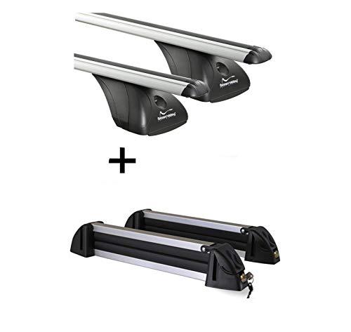 VDP Barres de Toit Original + Porte-Skis/Porte-Skis en Aluminium 4 Paires de Skis Extensible Landrover Evoque 5 Portes à partir de 2011