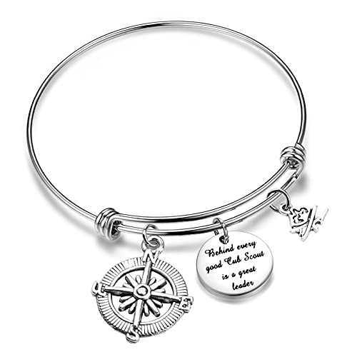 Boy Girl Scout Gifts Behind Every Good Cub Scout is A Great Leader Adjustable Bangle (Great Leader bracelet)