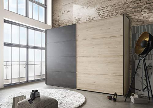 WIEMANN Kleiderschrank Brüssel, Schwebetürenschrank, Schlafzimmerschrank, mit Schiebetüren, Holz, Stein-Eiche, B/H/T 200 x 236 x 67 cm
