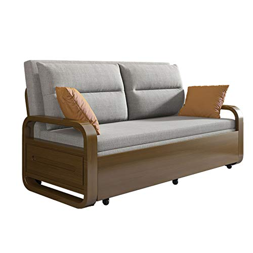 Solid Wood Sofa Convertible Bed - Multifunctional Loveseat Comfortable Cushion,Pull Out Sleeper Couch, Folding Sofa Bed for Living Room Apartment,Gray,1.65M