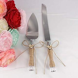 Frmarche - Cuchillo para Tarta de Boda con Tela de Yute, Cuchillo de Pizza y Pala para Regalo de Boda Personalizado Navidad cumpleaños Fiesta
