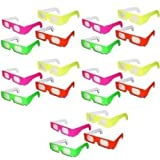 20 Pairs - Neon Prism Diffraction Fireworks Glasses - For Laser Shows, Raves