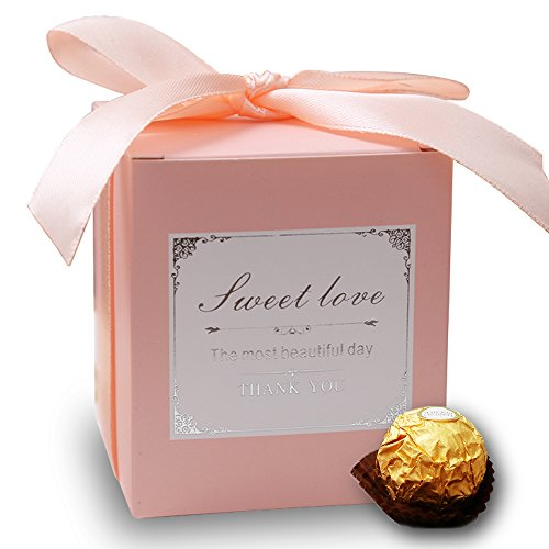 Doris Home 50 pcs Pink Birthday Wedding Favor Candy Boxes Bridal Shower Party Paper Gift Box