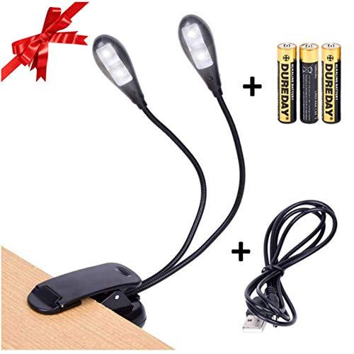 Luxergoods - Leeslamp - Leeslampje - Bureaulamp met klem - Boeklamp dubbel - 4 Led lamp - Op batterijen - Inclusief USB kabel - Flexibel - Zwart