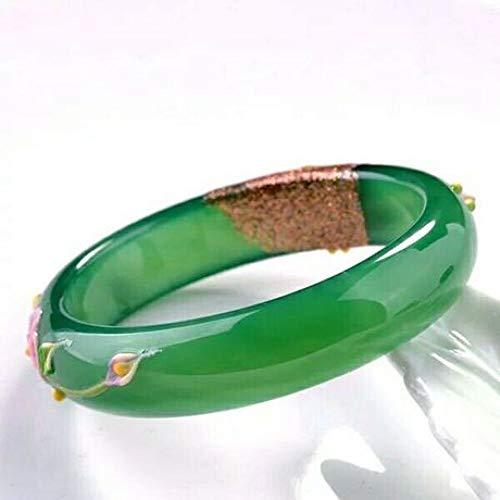 Aligeya Frauen Jade Armband natürliche grüne Achat Pfau geschnitzt geschnitzt Armband