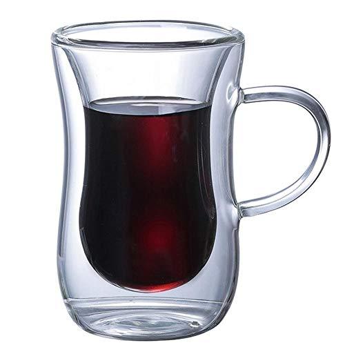 MLFL QQ Vida Nuevo 6pcs 2.7oz 80ml de Cristal de Pared Doble con Aislamiento de Calor del Vaso de Espresso Taza de té Taza de café Tazas de Cerámica Creativas (Color : 80ml 1pc)
