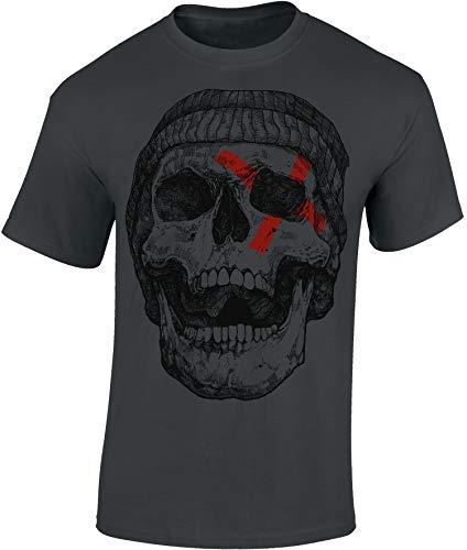 Camiseta: Patched Skull - Cráneo Parcheado - Halloween T-Shirt - Regalo Hombre-s y Mujer-es - Noche Brujas - Calavera - Horror - Gamer - Película Terror Miedo - Fantasy - Apocalipsis - Zombi-e (XXL)