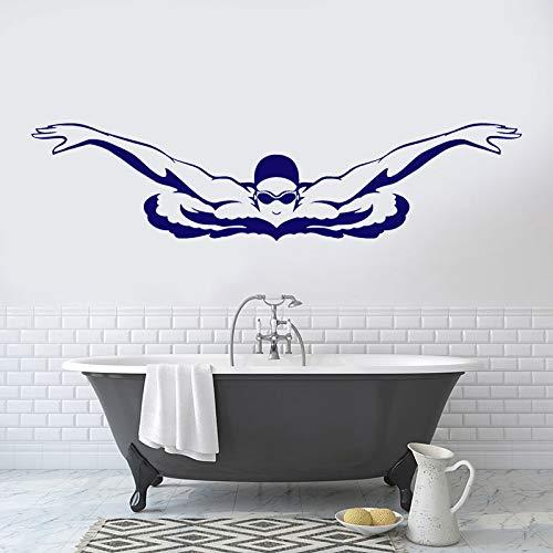 Braza de pecho jugador de natación nadador remando spray patrón de agua vinilo pared pegatina coche dormitorio baño Club decoración del hogar Mural